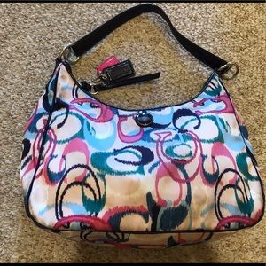 Coach F24452 Navy Blue Pink Cream IKAT Hobo Bag